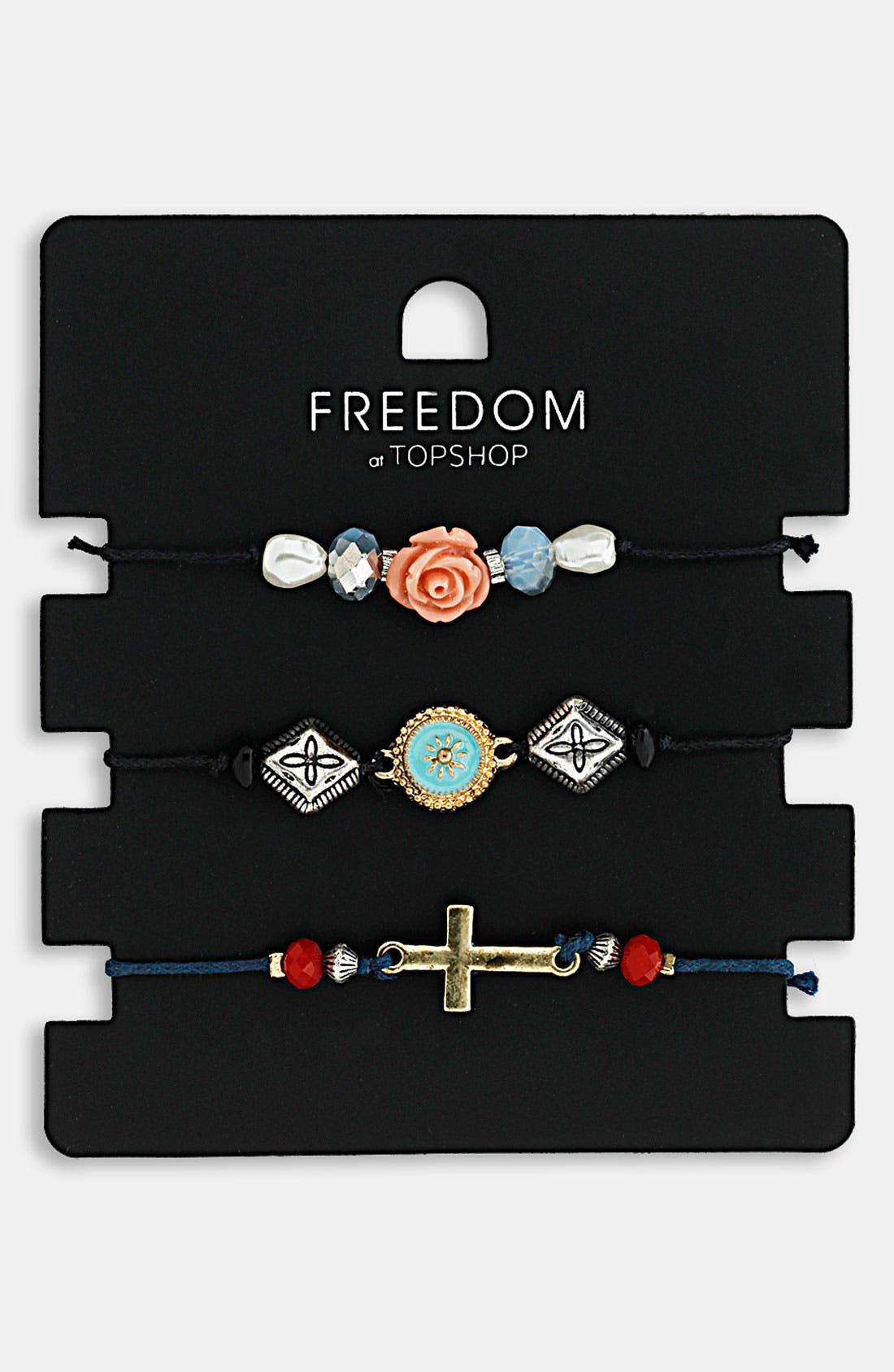 Main Image - Topshop Charm Bracelets (Set of 3)
