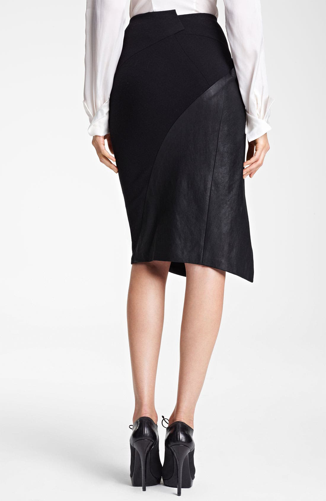 Alternate Image 2  - Donna Karan Collection Stretch Leather & Jersey Scissor Skirt