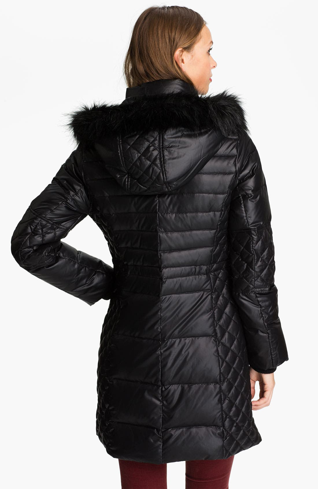Alternate Image 2  - GUESS Quilted Coat with Faux Fur Trim (Online Exclusive)