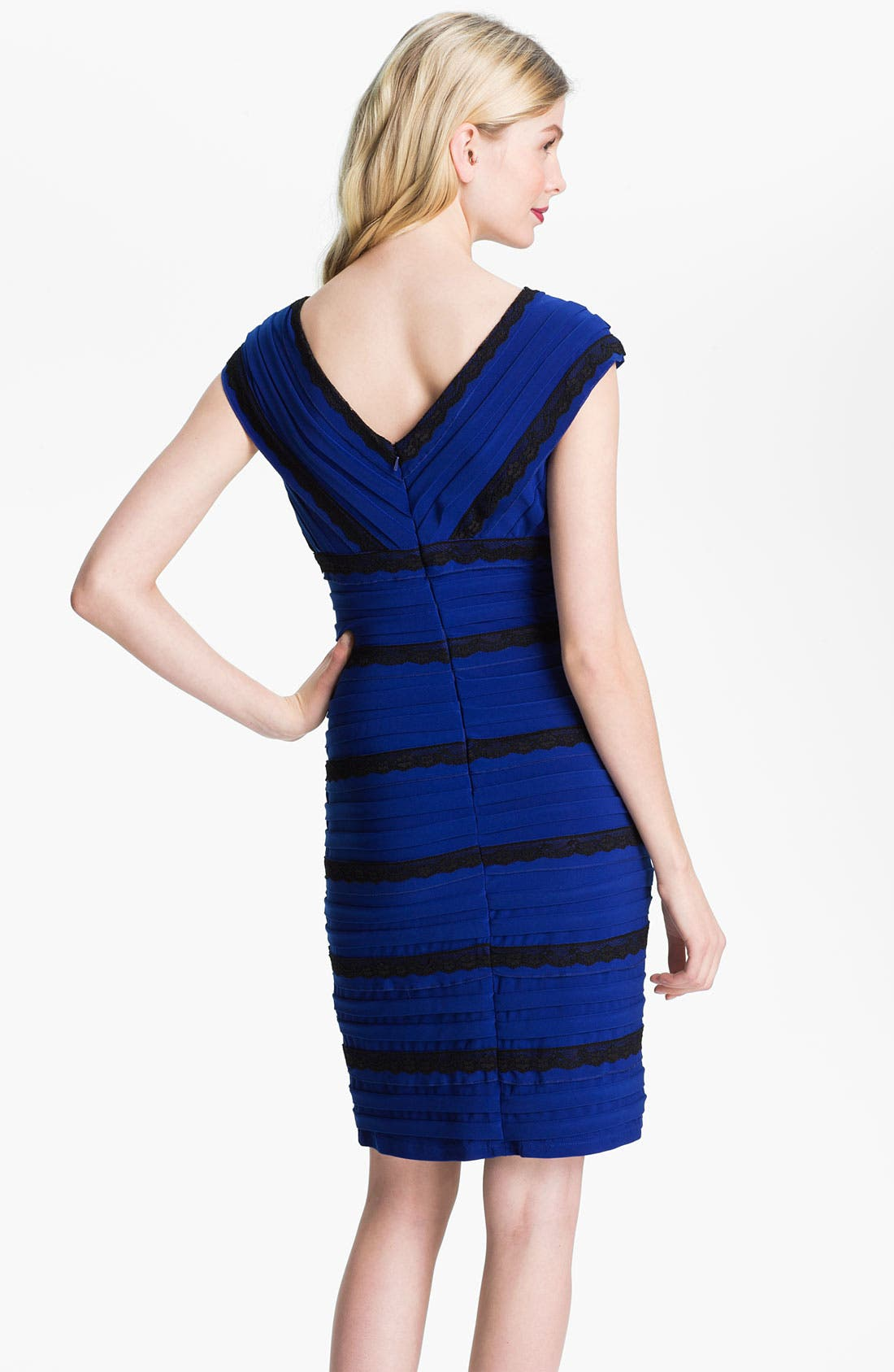 Alternate Image 2  - Adrianna Papell Lace Trim Pleated Sheath Dress