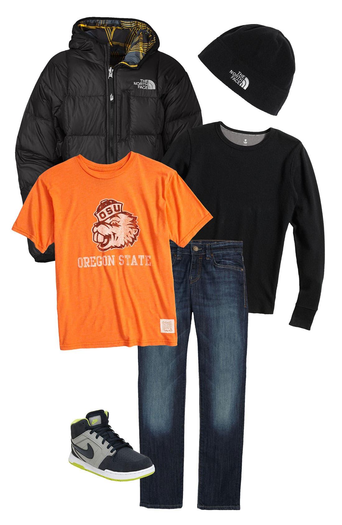 Alternate Image 1 Selected - Tucker + Tate Thermal Shirt, Retro Brand T-Shirt & The North Face Down Jacket (Big Boys)