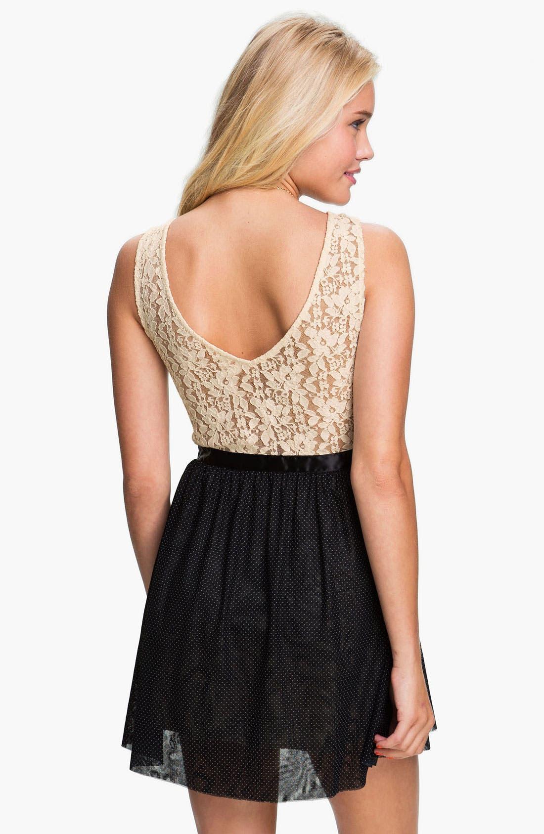 Alternate Image 2  - Frenchi® Lace Bodice Dress (Juniors)