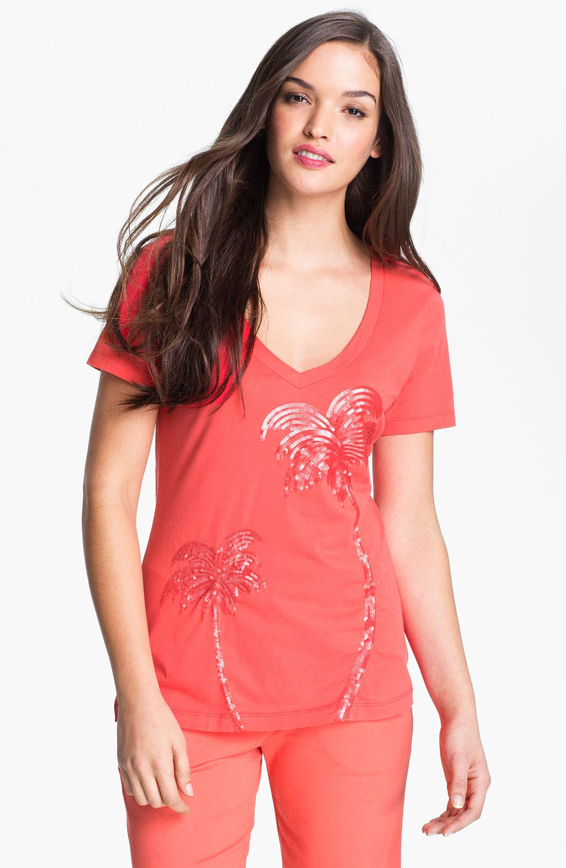 Alternate Image 1 Selected - Tommy Bahama Sequin Palm Tree Tee