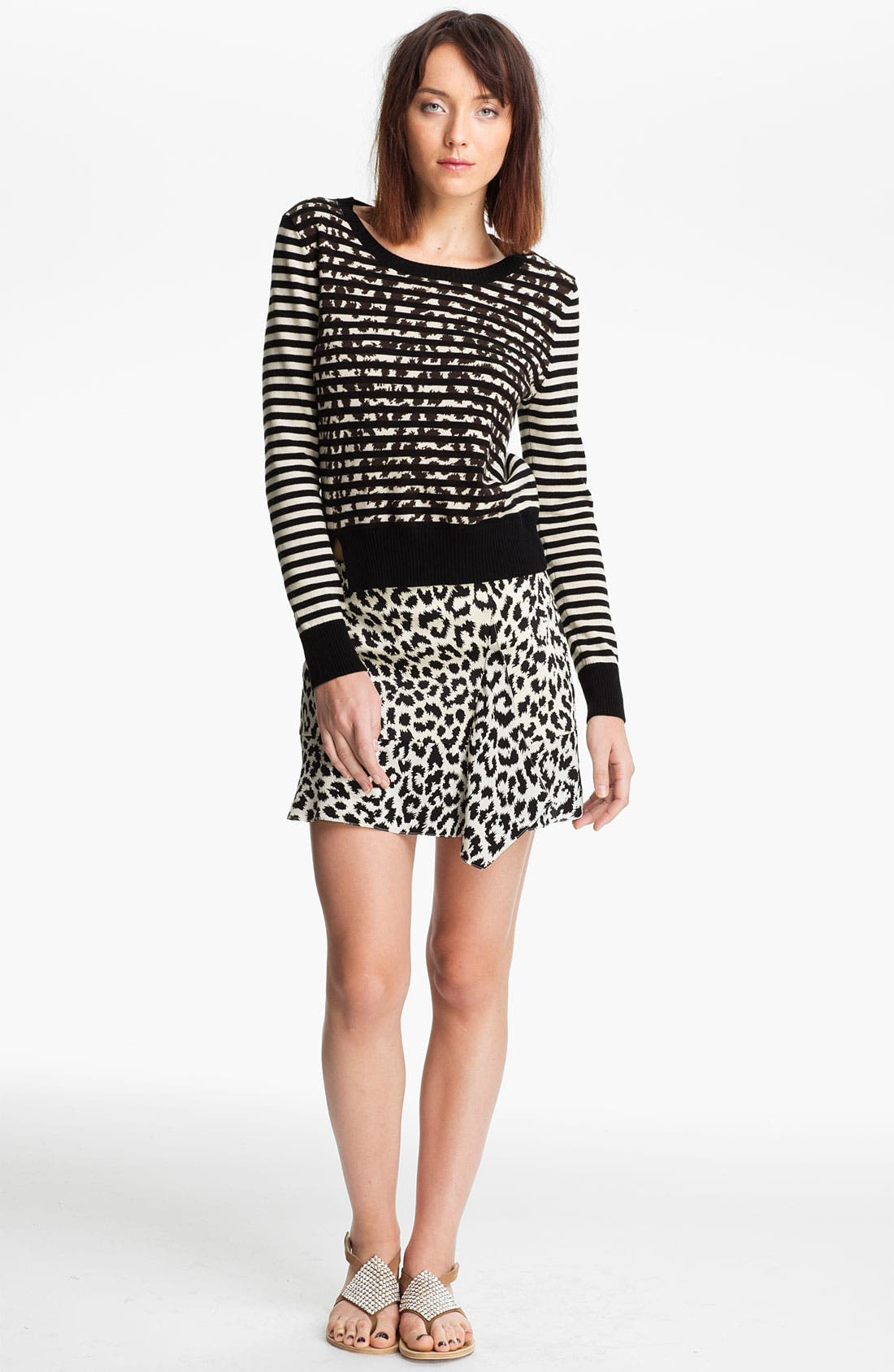 Main Image - Thakoon Addition Stripe & Leopard Print Sweater