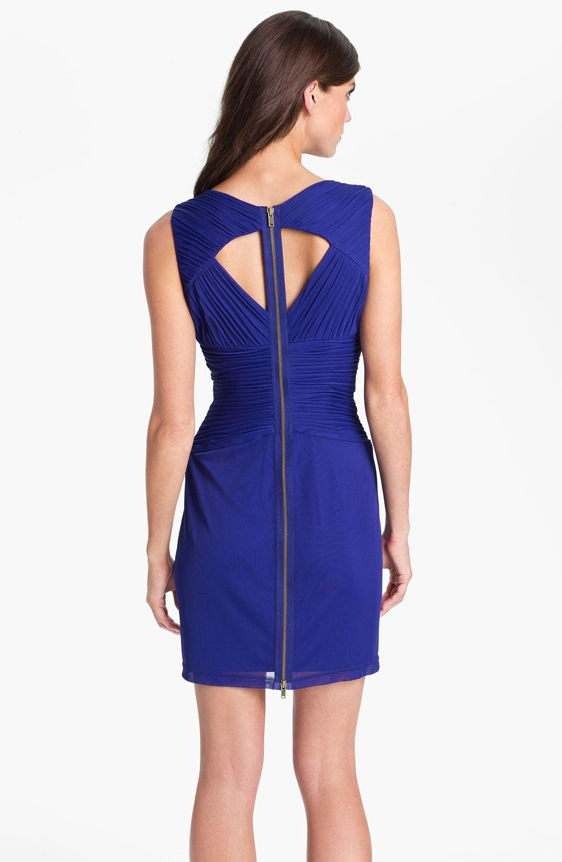 Alternate Image 2  - Hailey by Adrianna Papell Back Cutout Pleated Mesh Dress