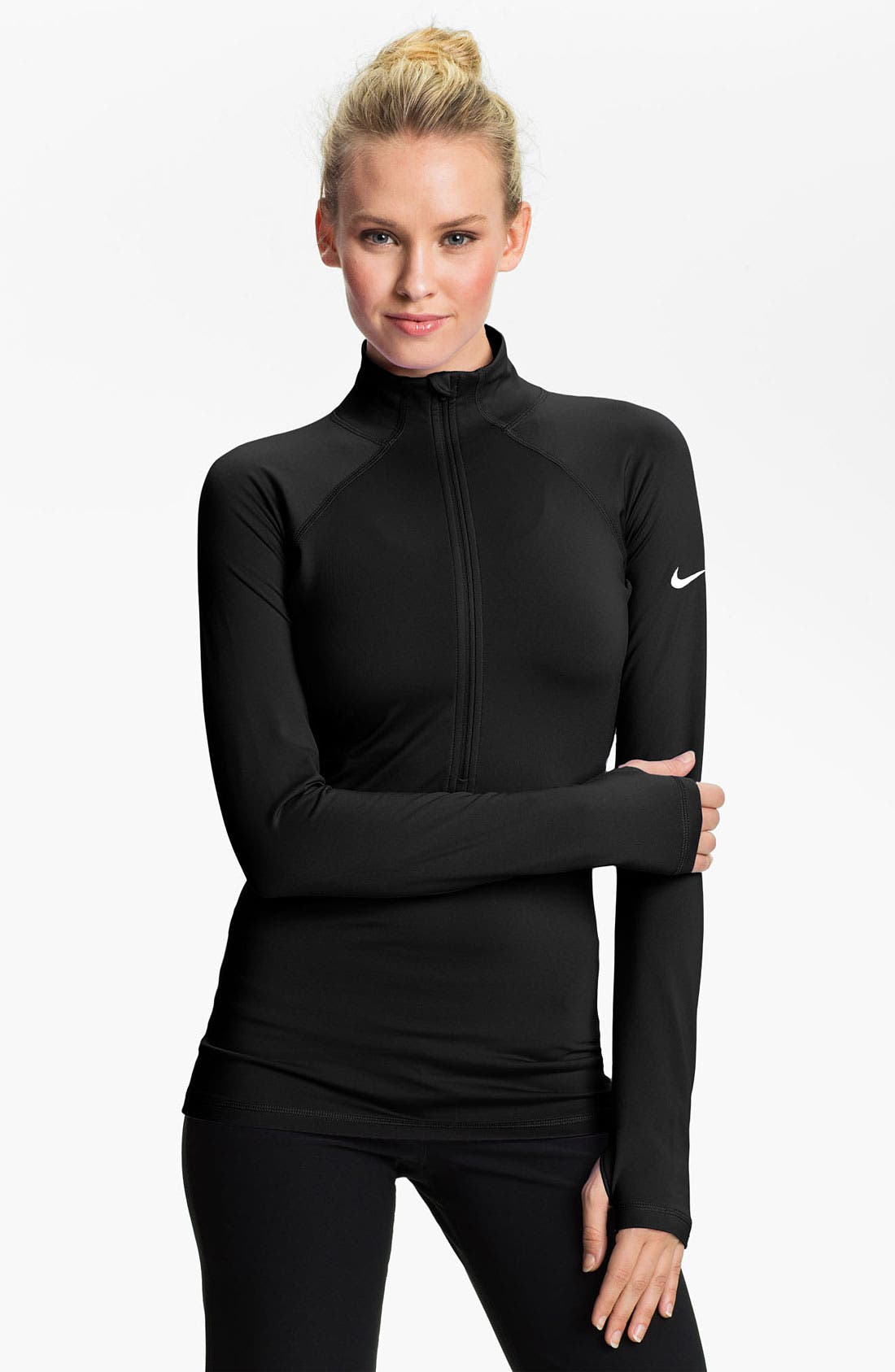 Alternate Image 1 Selected - Nike 'Pro Hyperwarm' Half Zip Top