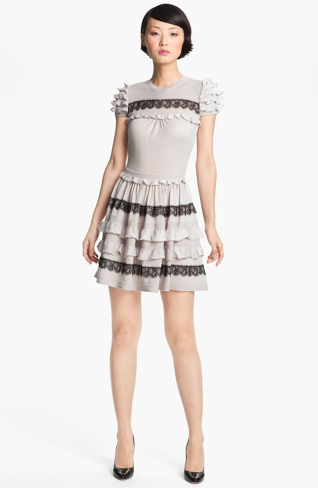 Alternate Image 1 Selected - RED Valentino Ruffle & Lace Knit Dress