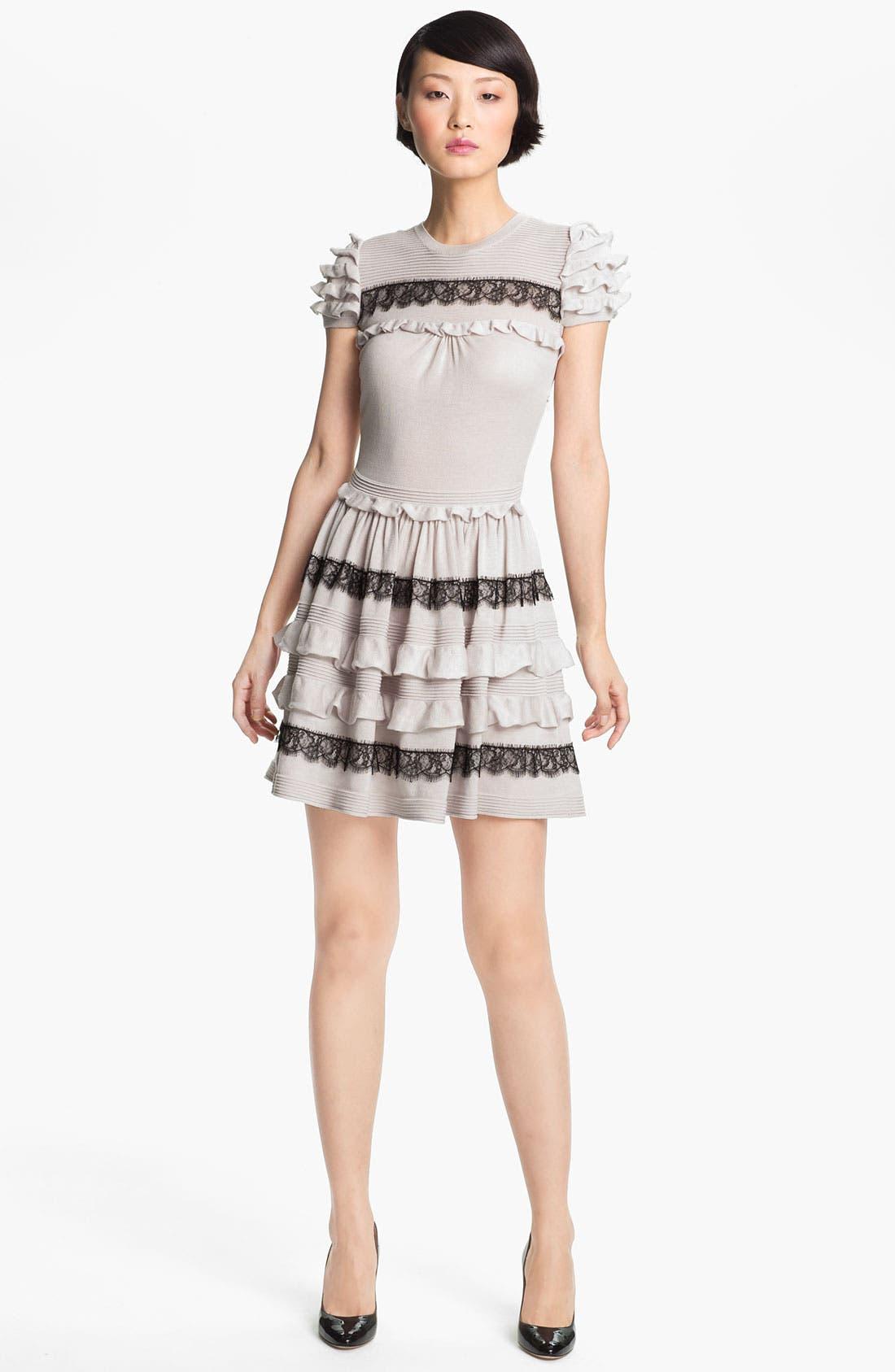 Main Image - RED Valentino Ruffle & Lace Knit Dress