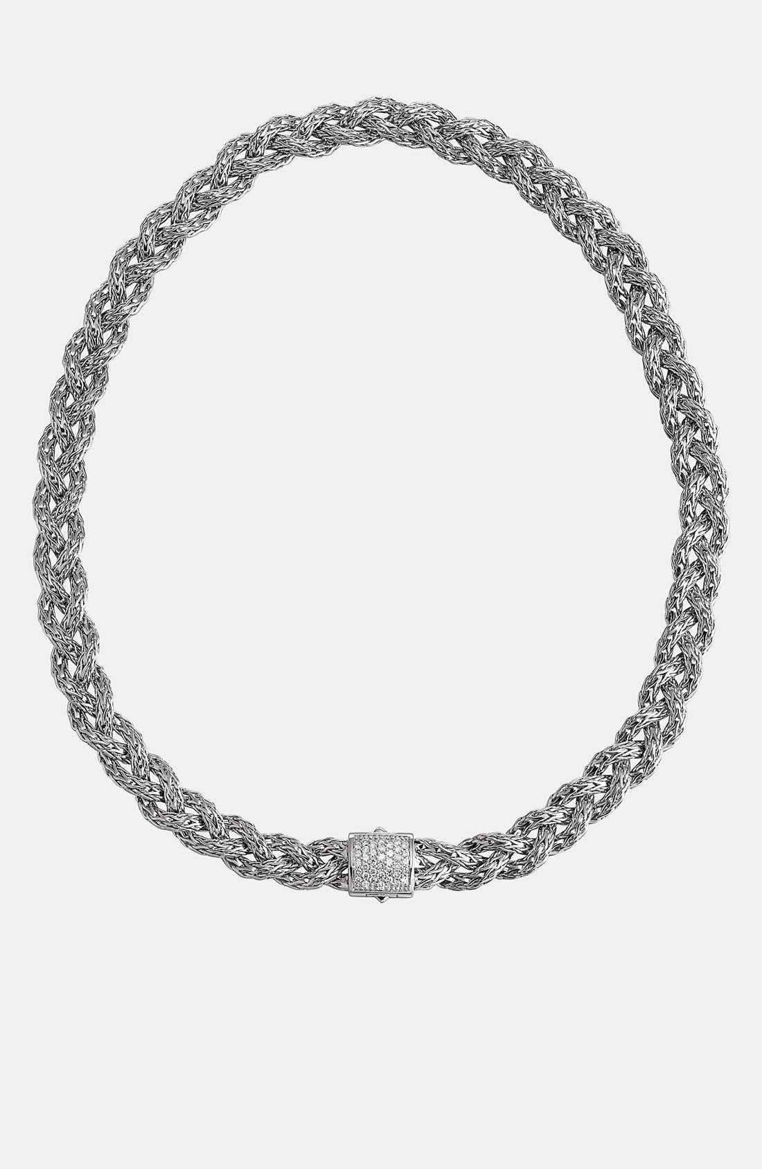 Main Image - John Hardy 'Classic Chain' Small Diamond Pavé Braided Chain Necklace