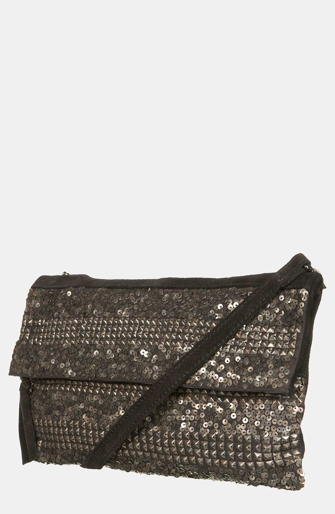 Main Image - Topshop Stud Stripe Metallic Clutch