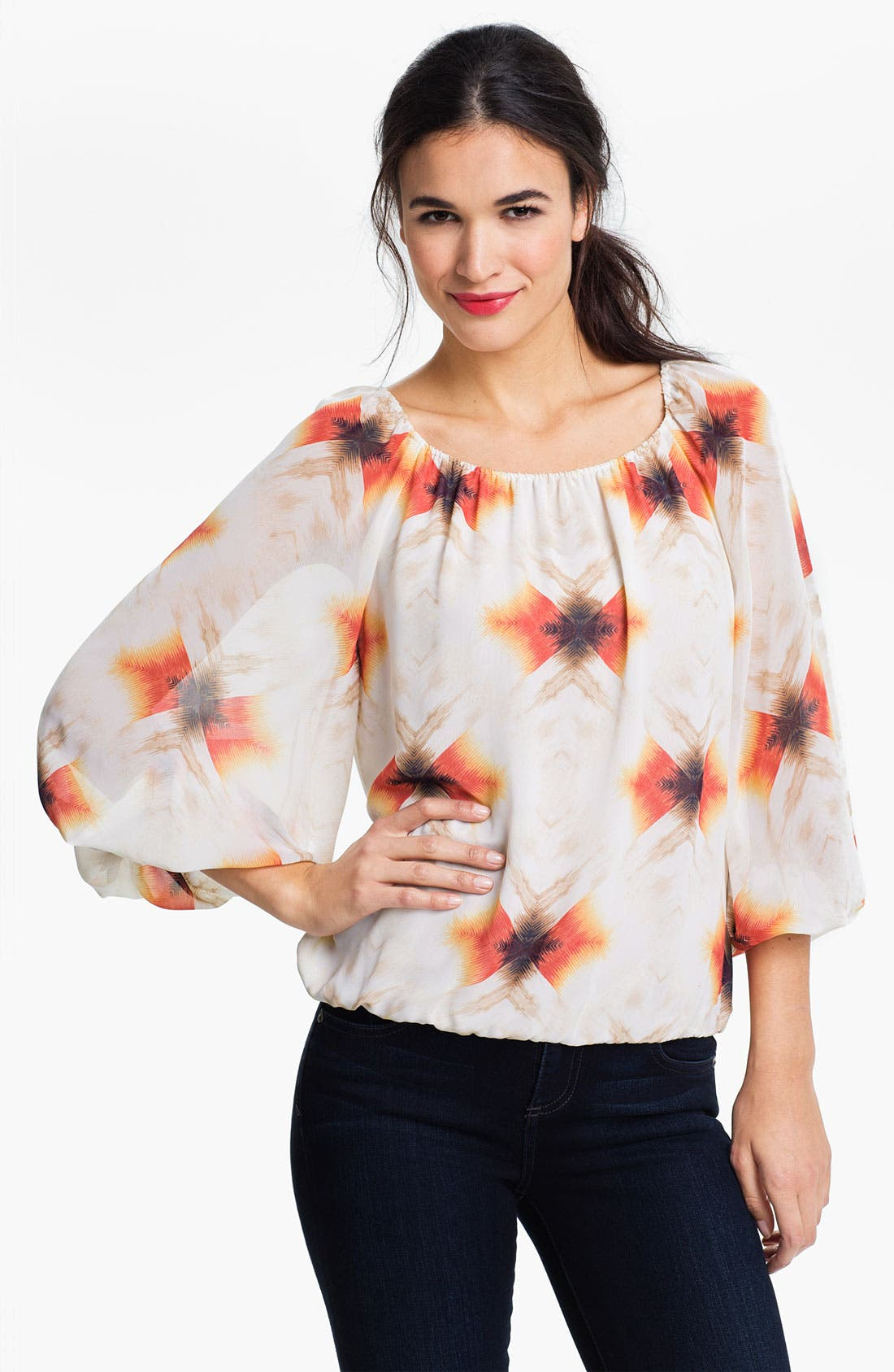 Alternate Image 1 Selected - Vince Camuto 'Feathered Geo' Peasant Blouse