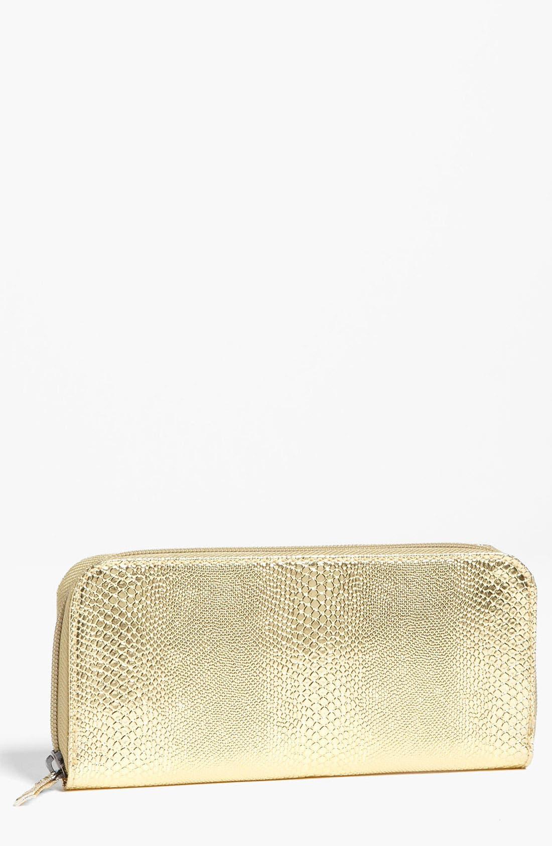 Alternate Image 1 Selected - Lulu Snake Embossed Metallic Wallet