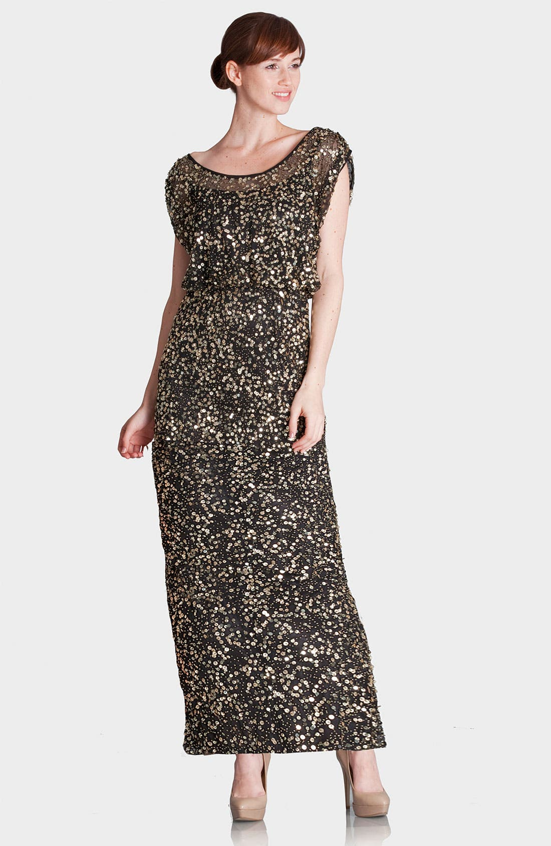 Main Image - JS Collections Blouson Bodice Sequin Mesh Gown