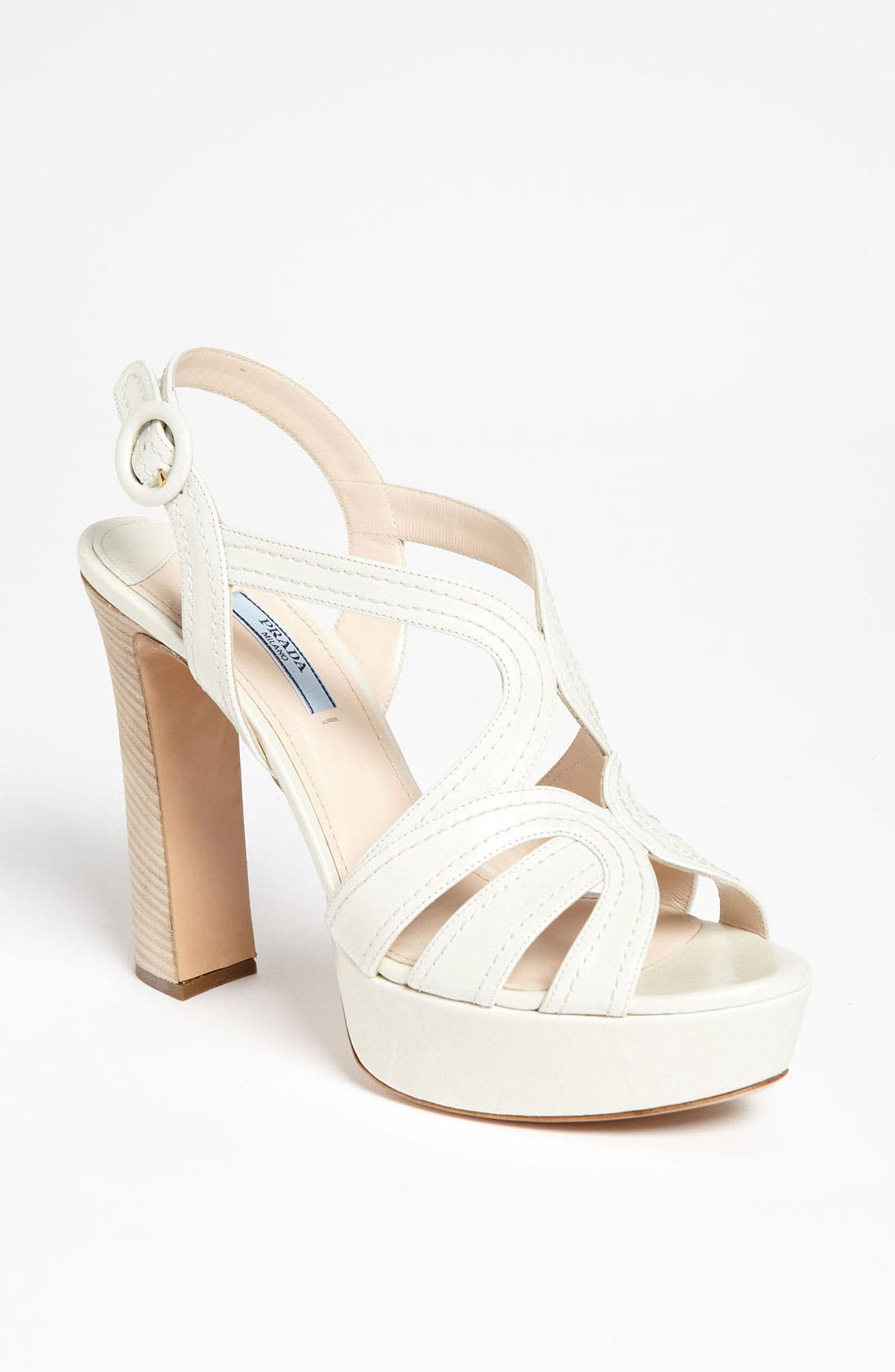 Blonde Heel Sandal,                             Main thumbnail 1, color,                             White
