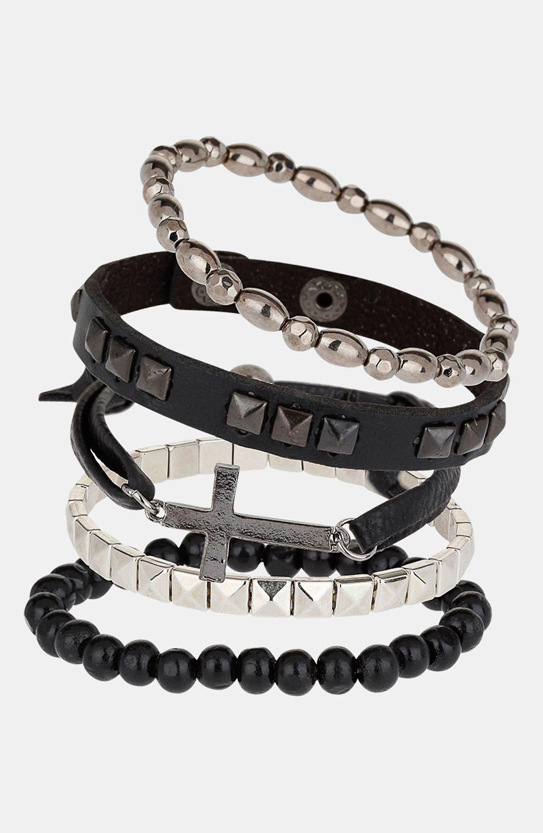 Alternate Image 1 Selected - Topman Multipack Bracelets (Set of 5)