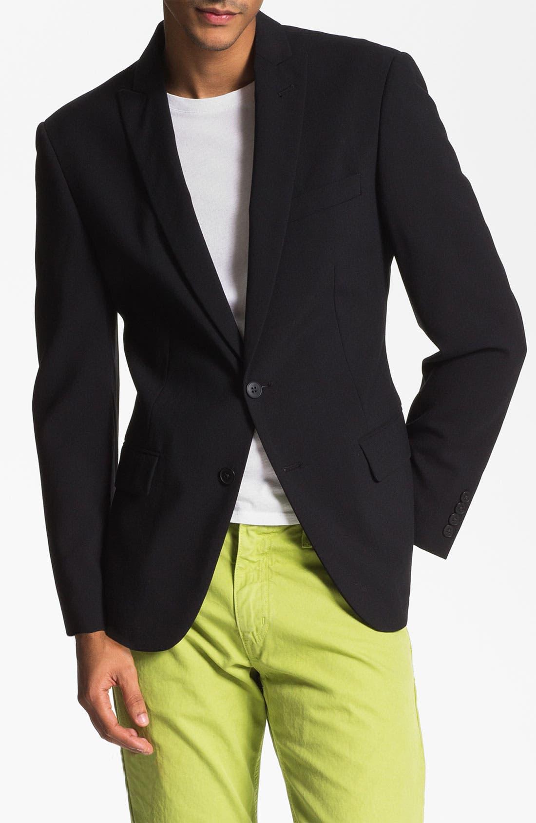 'Dwell 2' Black Wool Blazer,                         Main,                         color, Black Solid