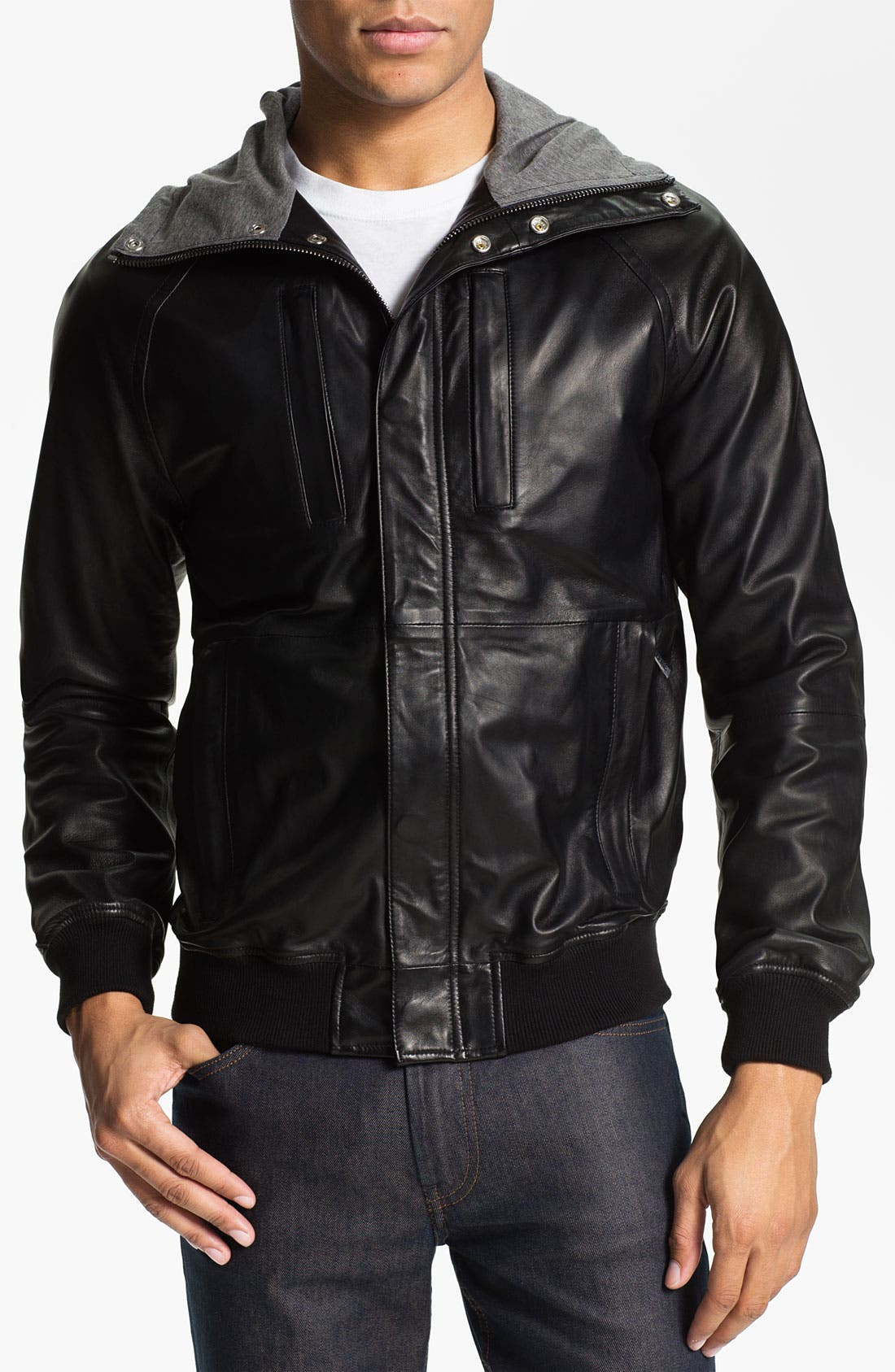 Main Image - MARC BY MARC JACOBS Hooded Leather Jacket
