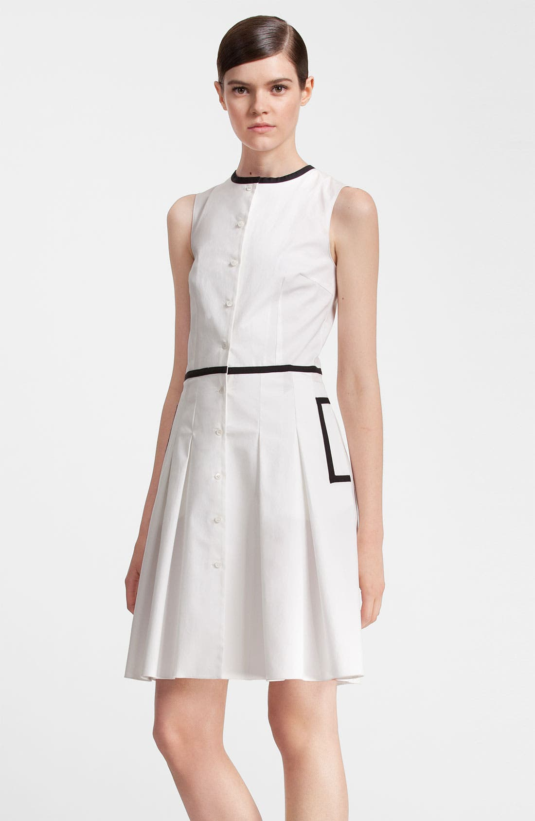 Alternate Image 1 Selected - Jil Sander Navy Black Trim Stretch Cotton Dress