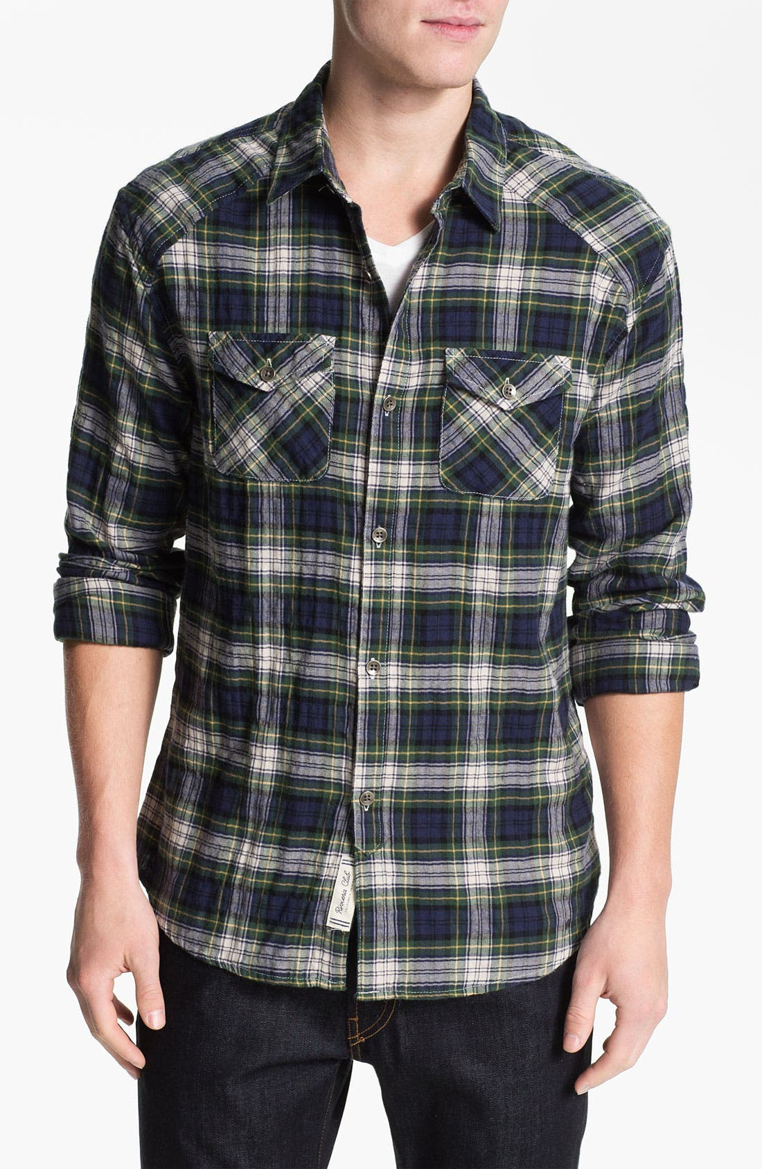 Country Plaid Herringbone Flannel Shirt,                             Main thumbnail 1, color,                             Navy