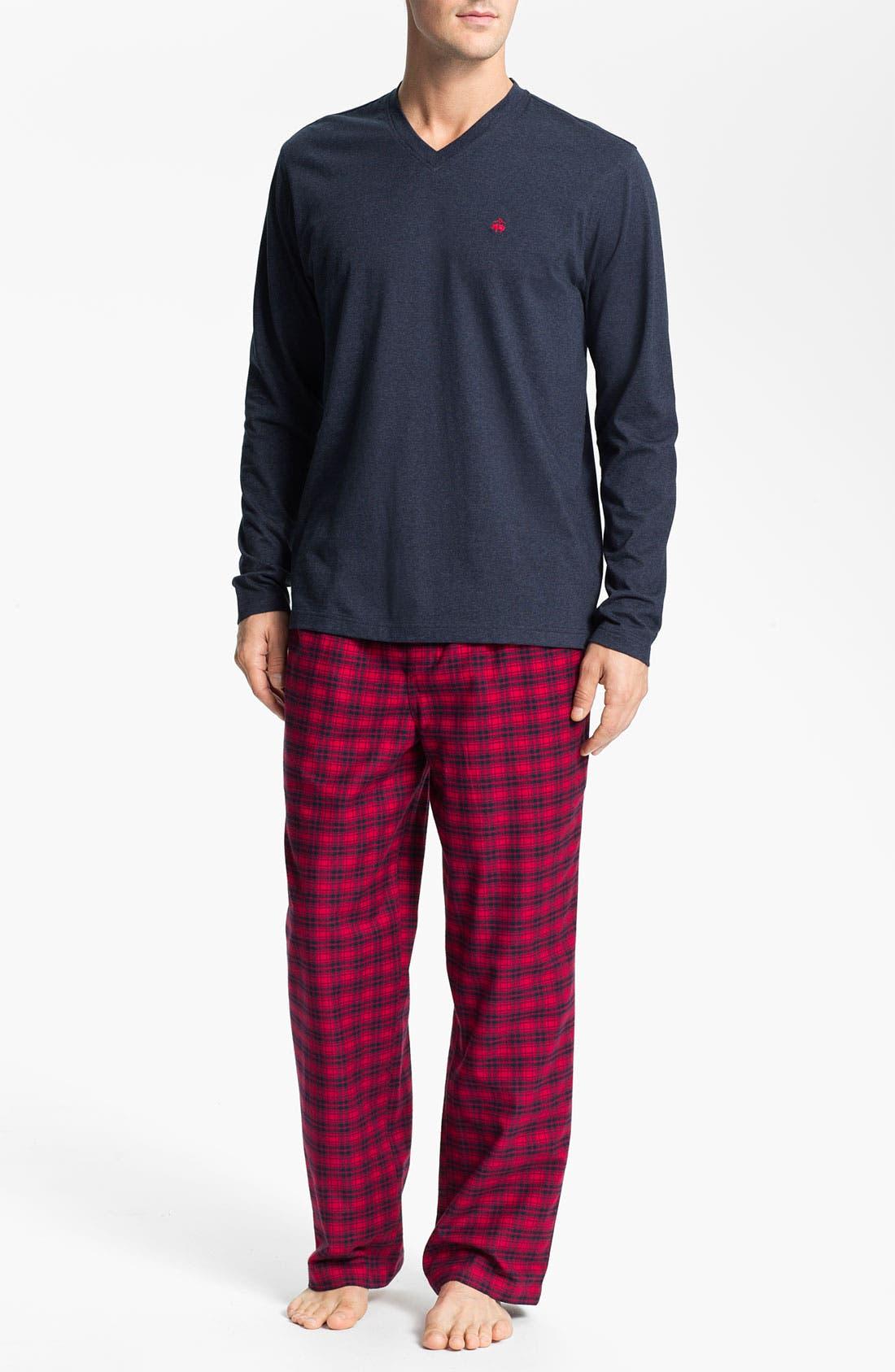 Main Image - Brooks Brothers Cotton Pajama Set