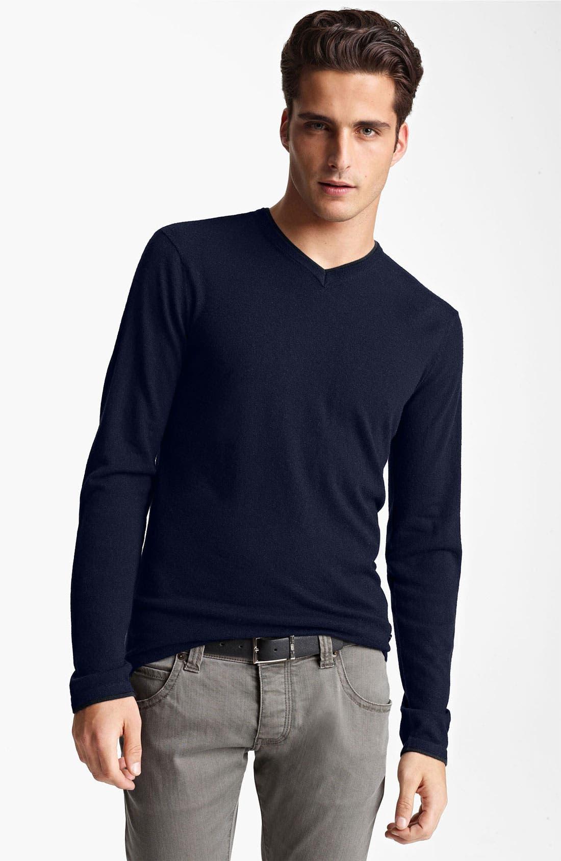 Alternate Image 1 Selected - Armani Collezioni V-Neck Cashmere Sweater