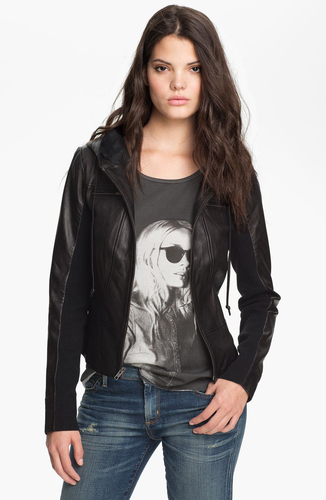 Alternate Image 1 Selected - Trouvé Leather Hoodie