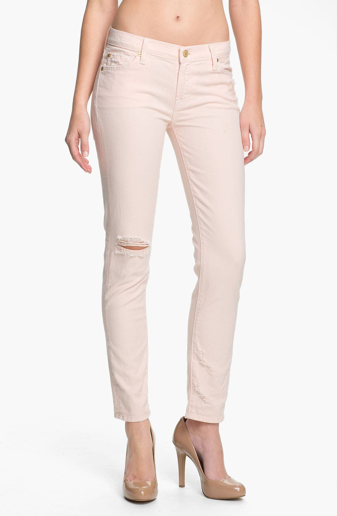 Alternate Image 1 Selected - 7 For All Mankind® 'The Slim Cigarette' Stretch Jeans (Ballet Pink)
