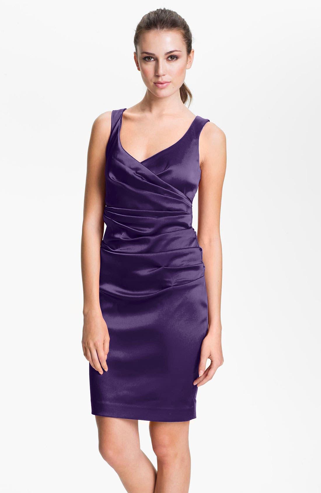 Main Image - Calvin Klein V-Neck Ruched Satin Sheath Dress