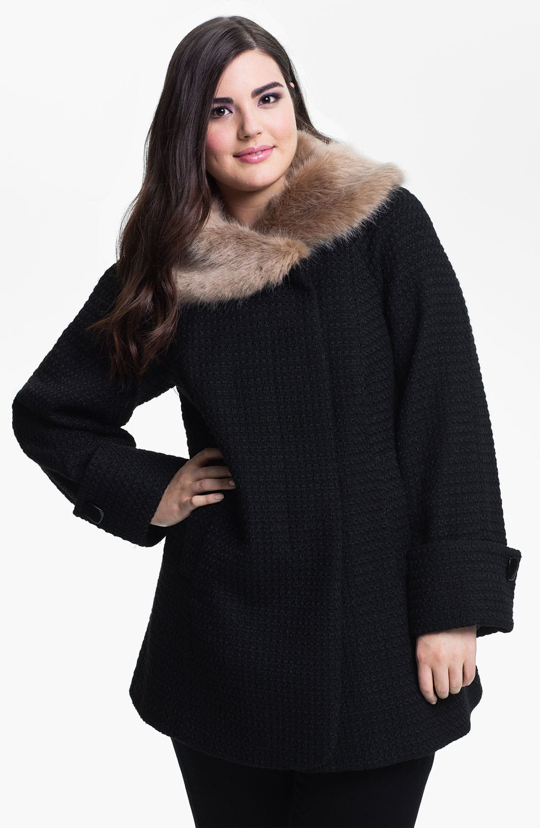 Main Image - Evans Textured Coat with Faux Fur Collar (Plus Size)