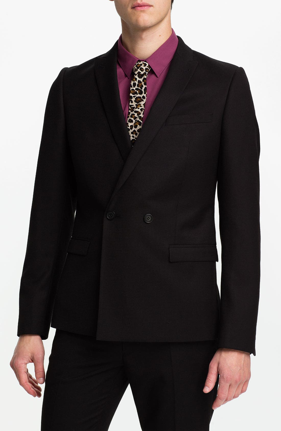 Main Image - Topman Grid Check Double Breasted Tuxedo Jacket