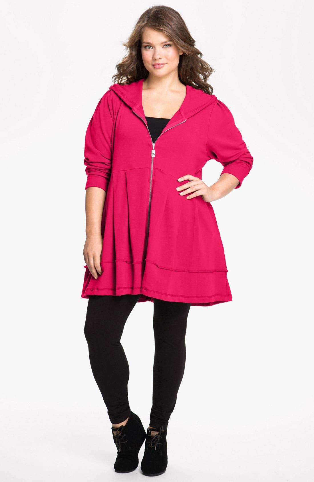 Alternate Image 1 Selected - Pink Lotus Pleated Tunic Hoodie (Plus Size)
