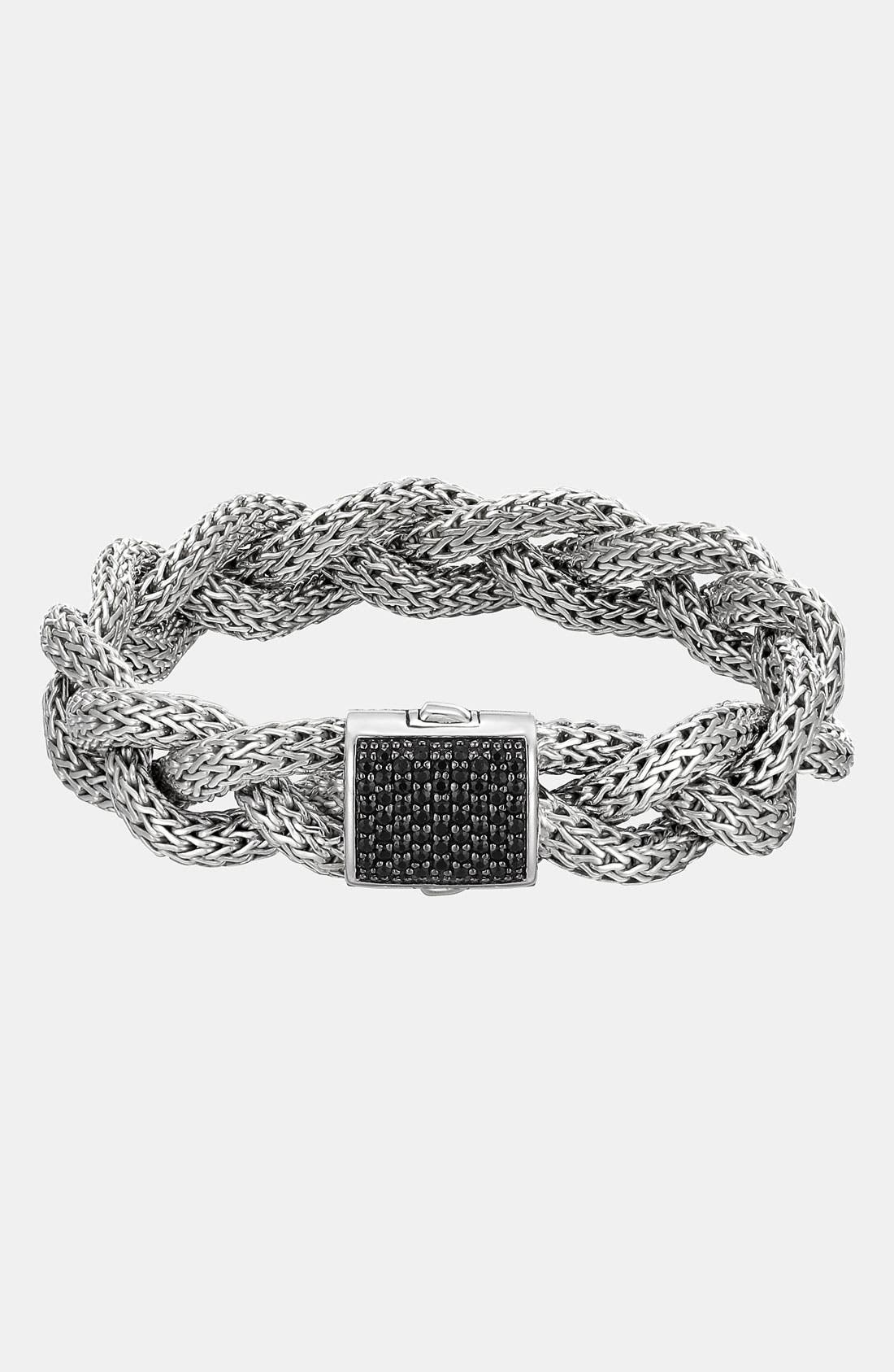 'Classic Chain' Medium Braided Bracelet,                             Main thumbnail 1, color,                             Silver/ Black Sapphire
