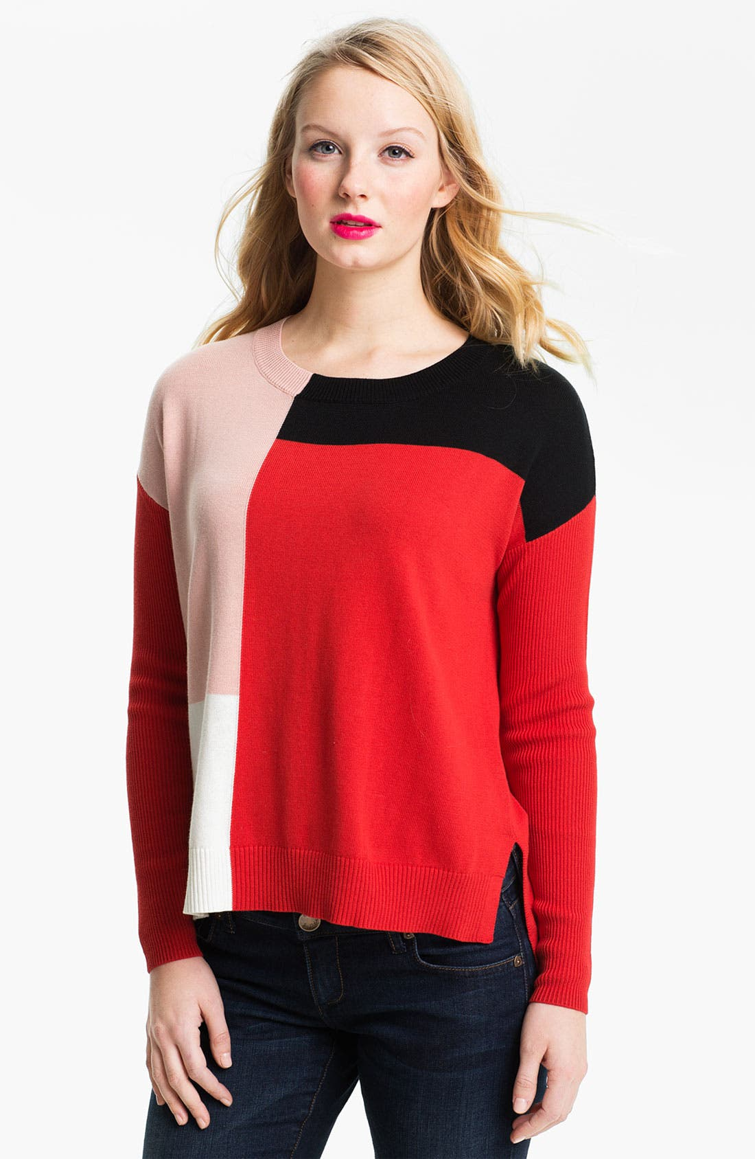 Colorblock High Low Sweater,                         Main,                         color, Rouge