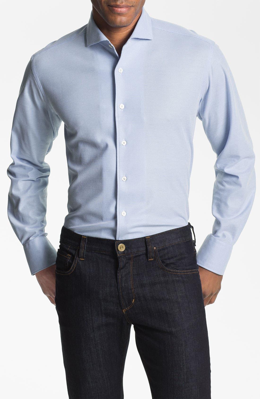 Main Image - Canali Regular Fit Knit Italian Sport Shirt