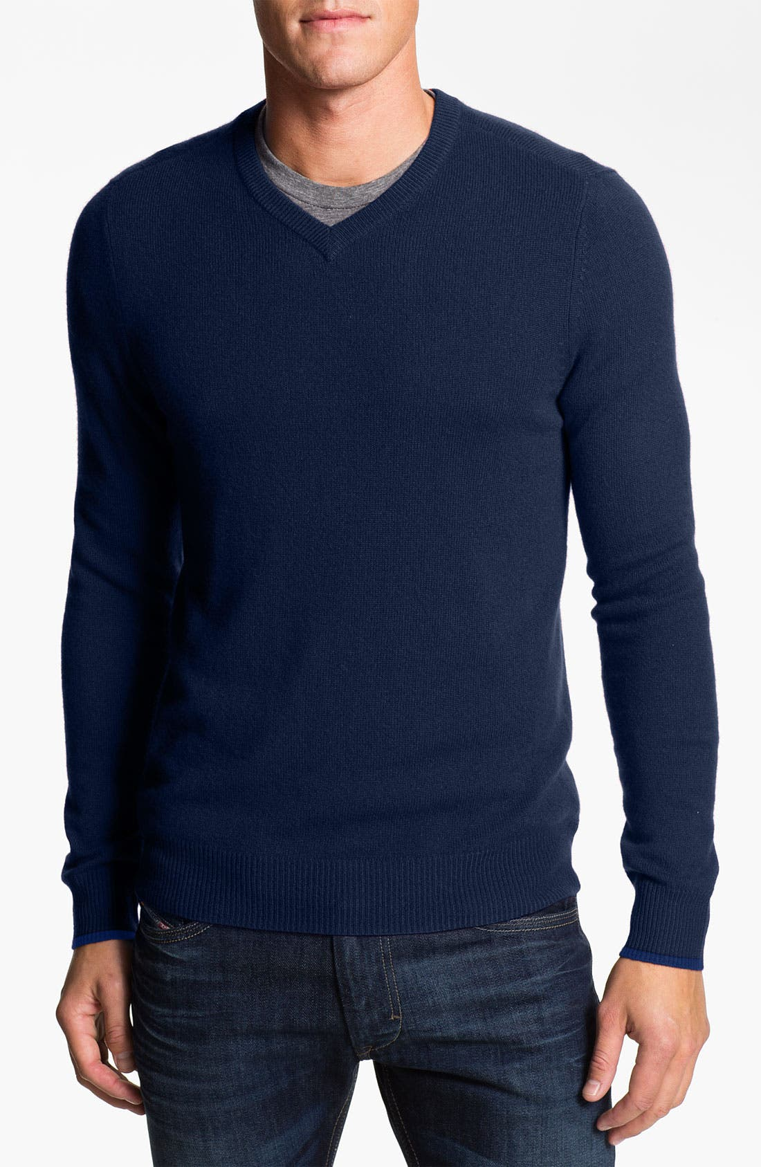 Alternate Image 1 Selected - 1901 Trim Fit V-Neck Cashmere Sweater
