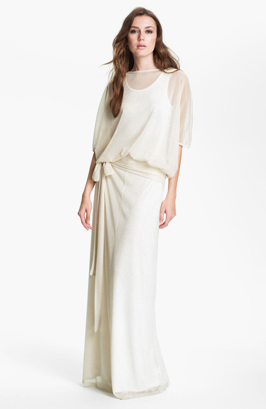 'Anne' Sheer Blouson Bodice Maxi Dress,                         Main,                         color, Ivory