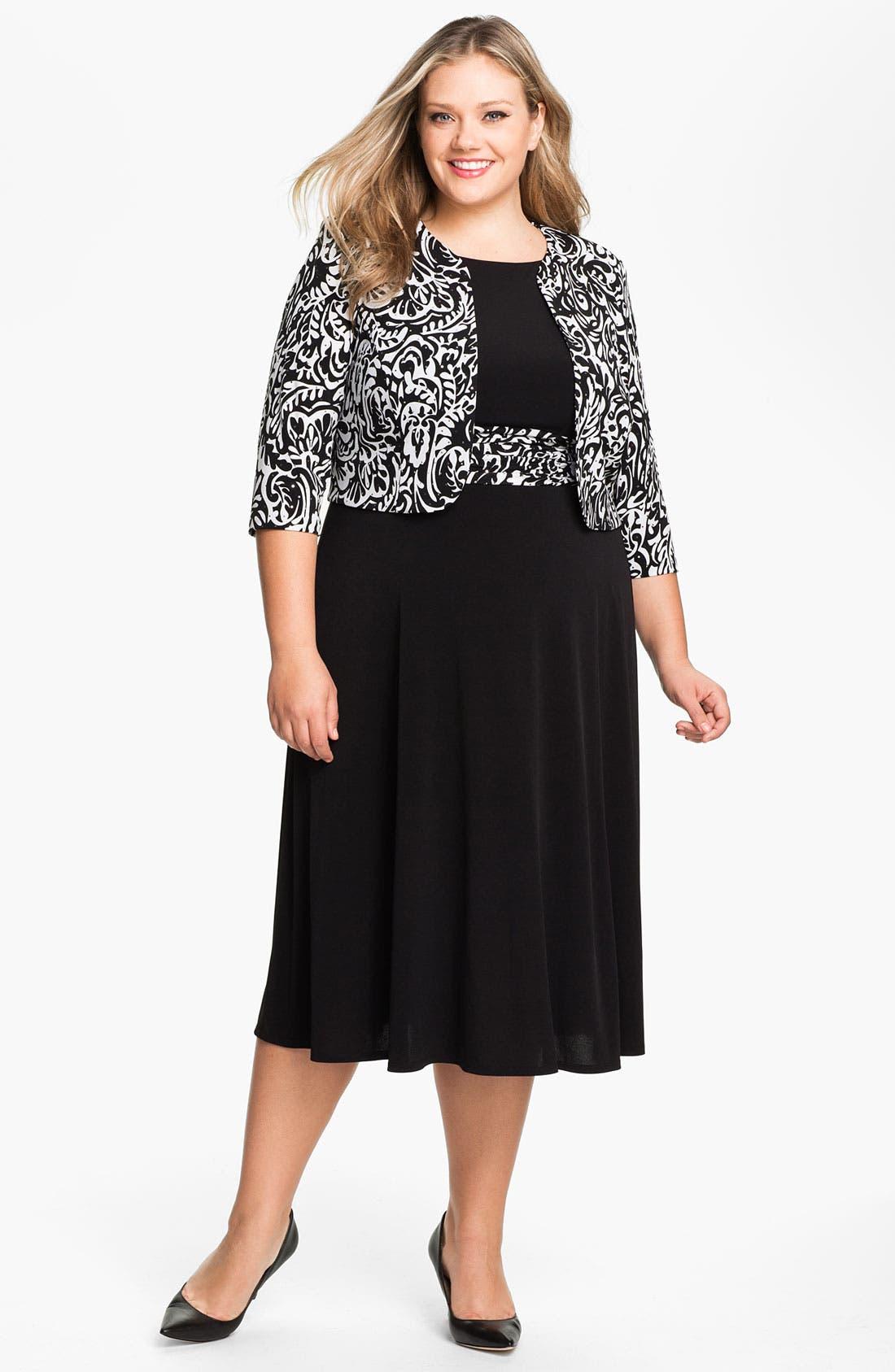 Alternate Image 1 Selected - Eliza J Sleeveless Empire Knit Dress & Bolero (Plus)