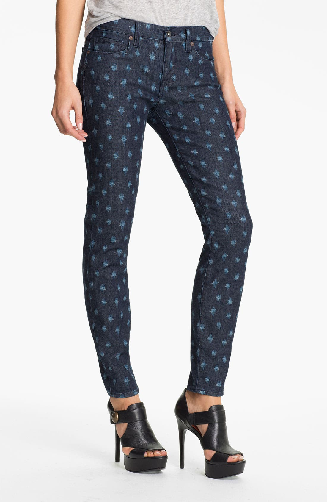 Alternate Image 1 Selected - Lucky Brand 'Sofia' Print Skinny Jeans