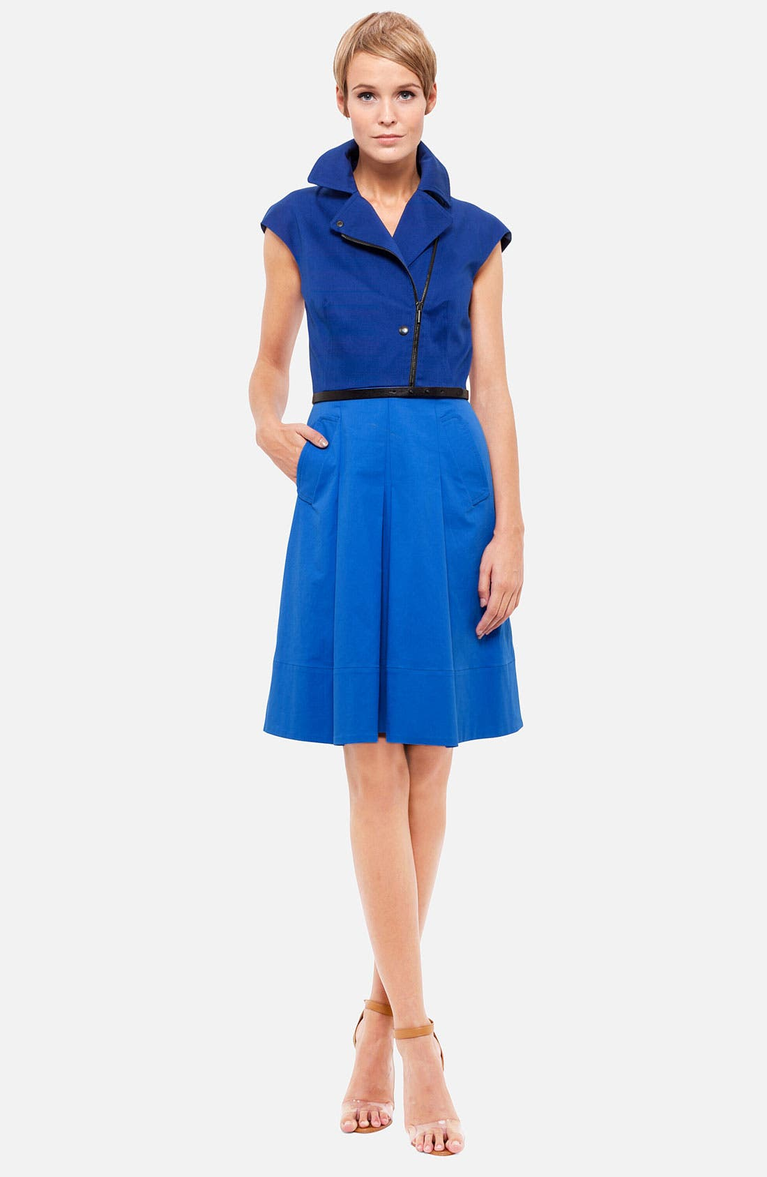 Belted Colorblock Stretch Cotton Dress,                         Main,                         color, Royal/ Encre