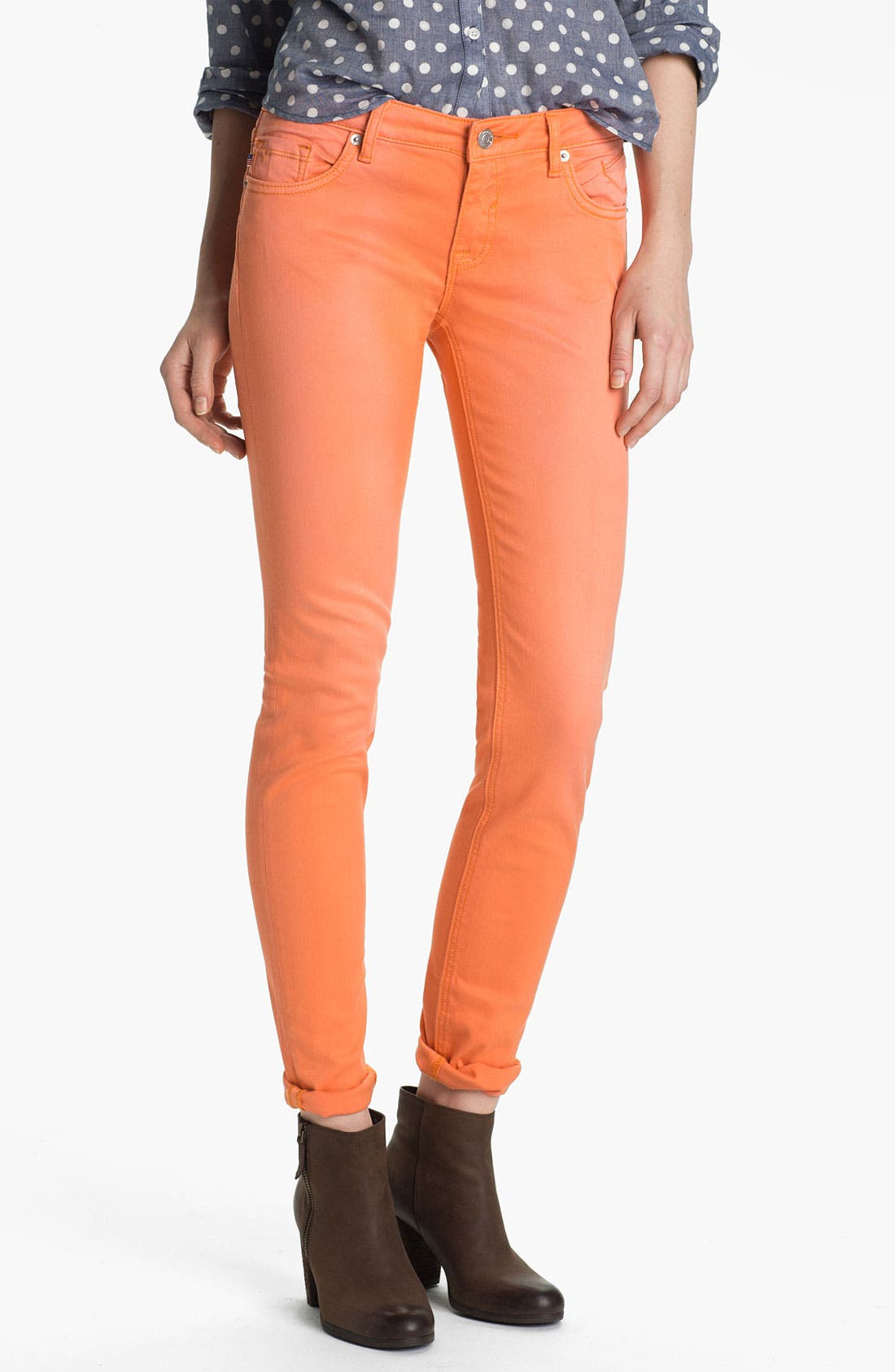 Alternate Image 2  - Vigoss Skinny Jeans (Tangerine) (Juniors)