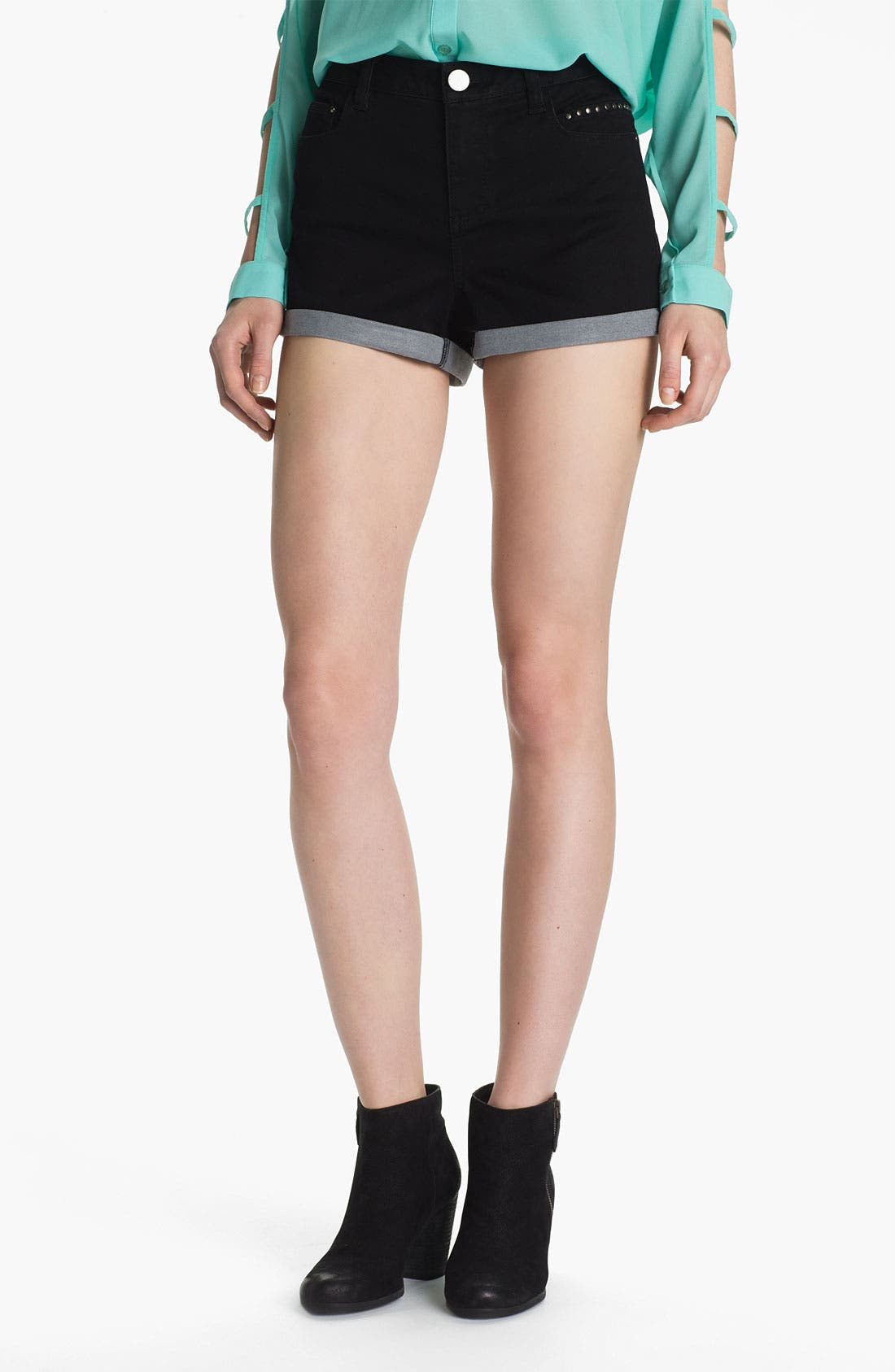 Alternate Image 1 Selected - Fire Studded High Waist Denim Shorts (Juniors)