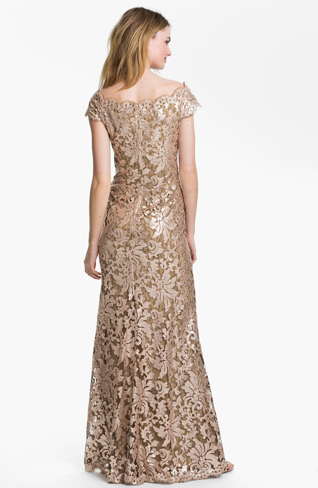 Alternate Image 2  - Tadashi Shoji Sequin Lace Off Shoulder Gown