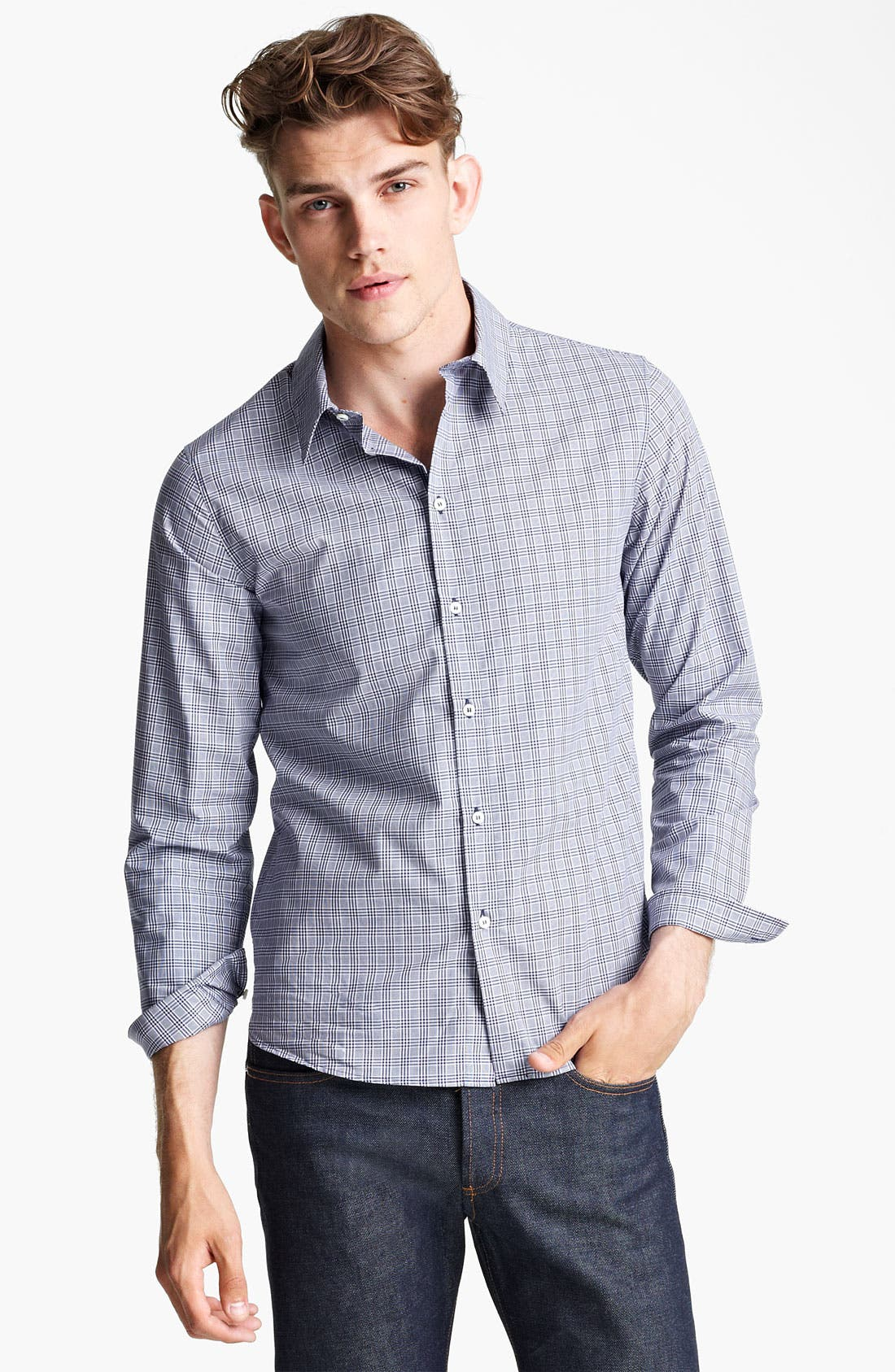 Alternate Image 1 Selected - A.P.C. Check Woven Shirt