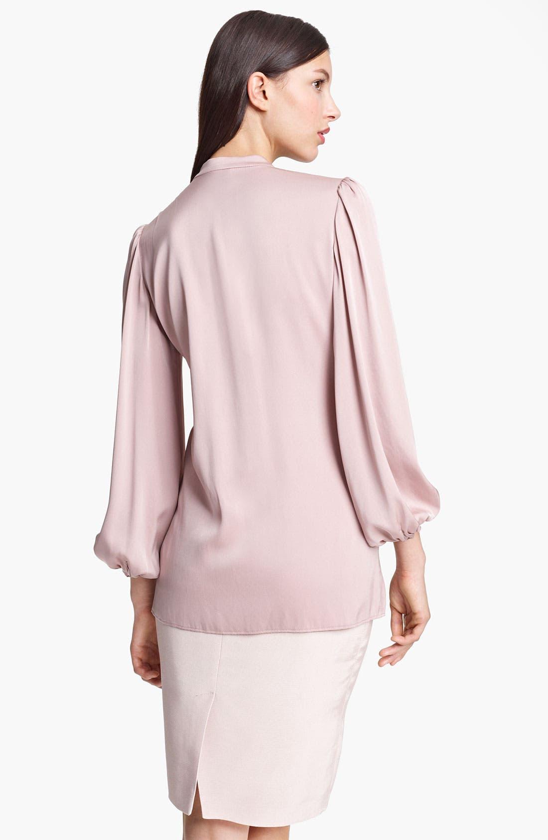 Alternate Image 2  - Armani Collezioni Pleated Stretch Silk Blouse