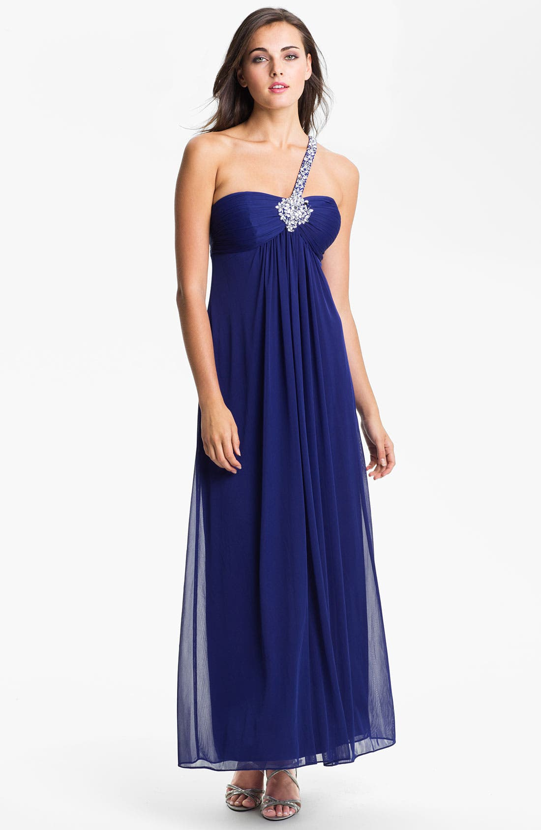 Main Image - Xscape Embellished One Shoulder Mesh Gown