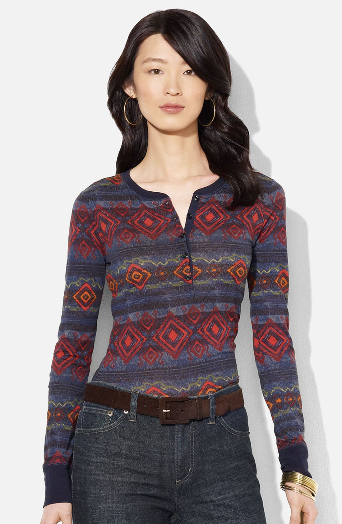 Alternate Image 1 Selected - Lauren Ralph Lauren Print Henley Tee (Petite)