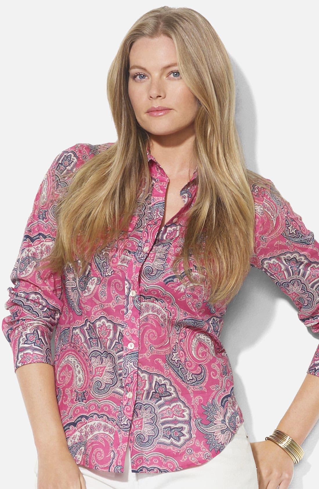 Alternate Image 1 Selected - Lauren Ralph Lauren Roll Sleeve Print Shirt (Plus)