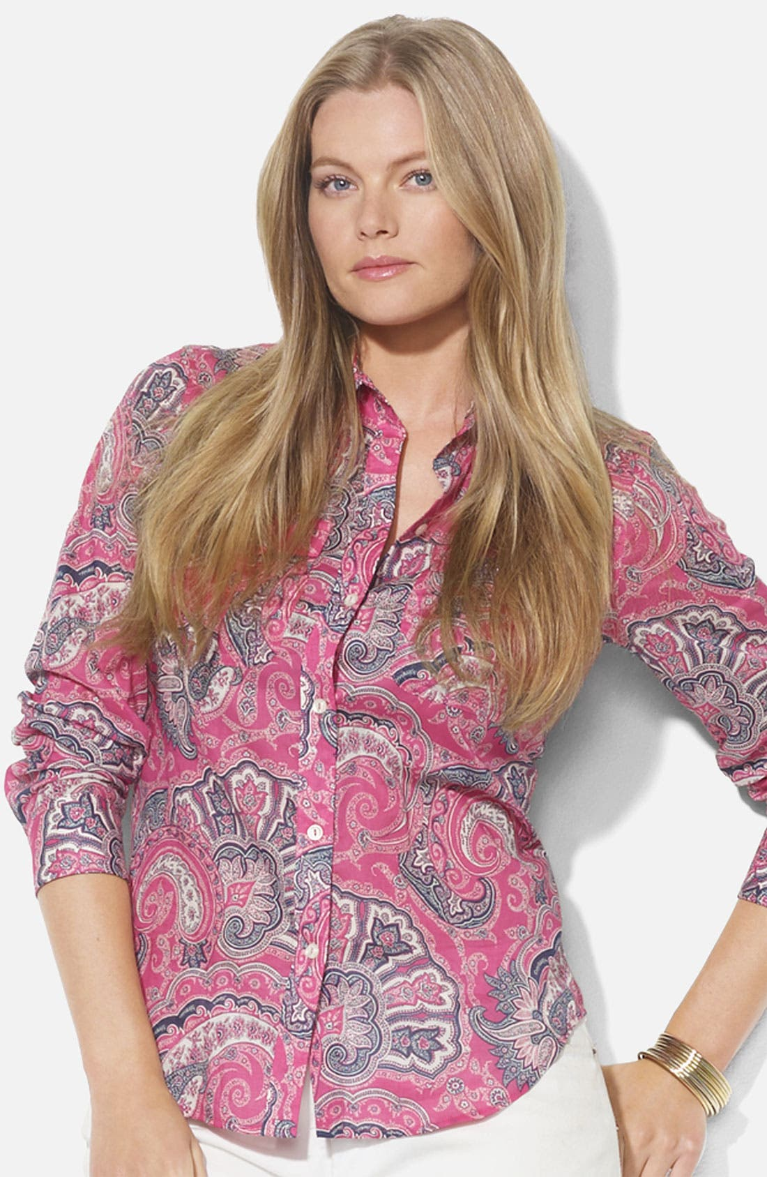 Main Image - Lauren Ralph Lauren Roll Sleeve Print Shirt (Plus)