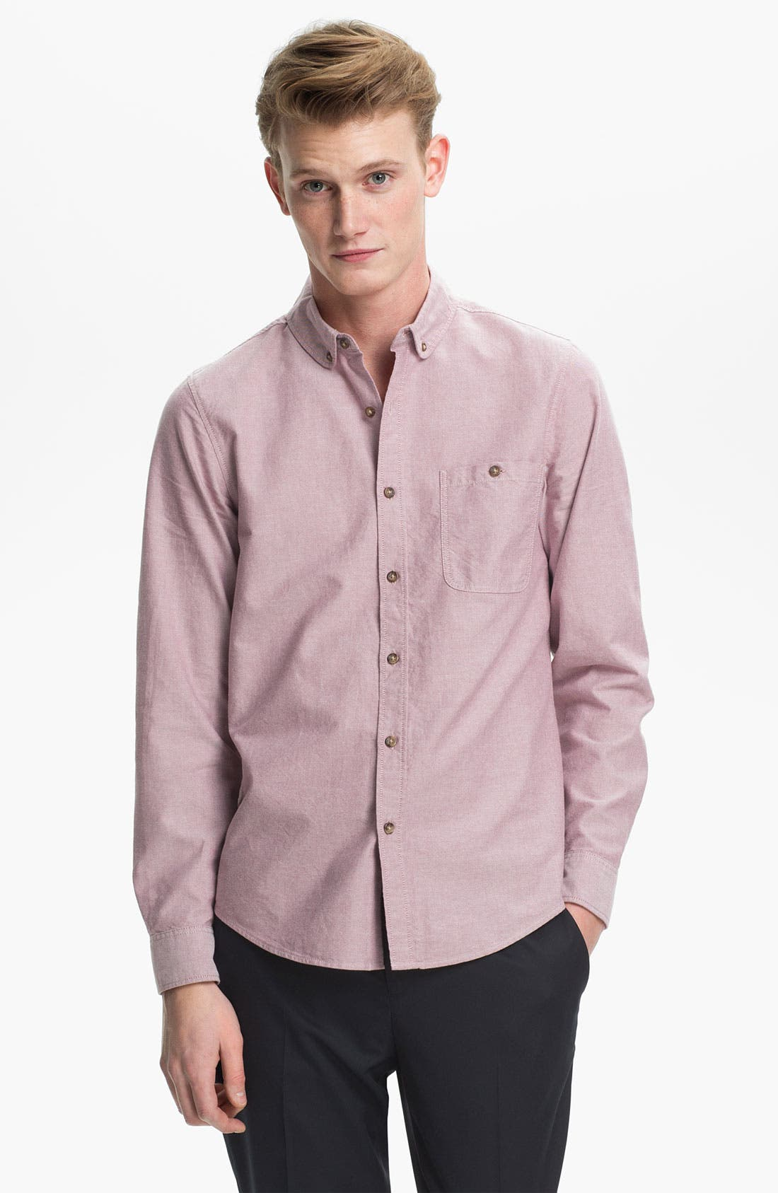 Main Image - Topman Curved Collar Oxford Shirt