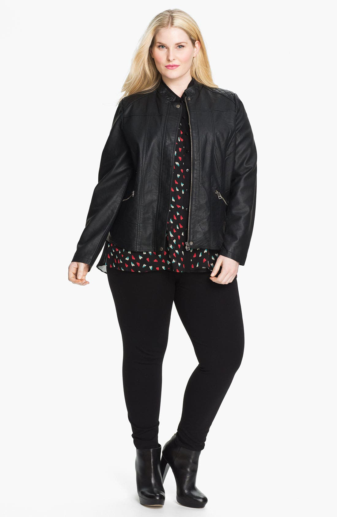 Alternate Image 4  - Evans Quilted Faux Leather Jacket (Plus Size)
